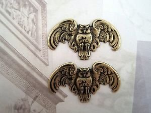 Oxidized Brass Owls With Hole Stampings (2) - BOFF2749-1