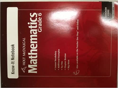 Holt mcdougal mathematics know it notebook grade 6 holt mcdougal holt mcdougal mathematics know it notebook grade 6 1st edition fandeluxe Gallery