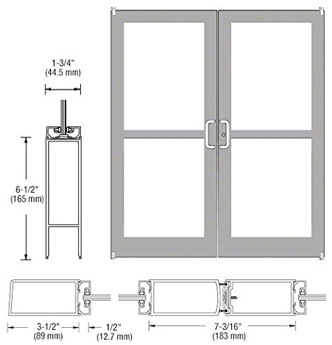 CRL-U.S. Aluminum Clear Anodized Pair of Doors 72'' x 84'' 400 Medium Stile Offset Pivots With Panic Exit Devices for Surface Mount Closers