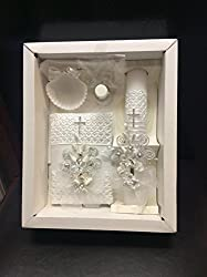 Baptism Candle Set with Flowers and Crystal decoration