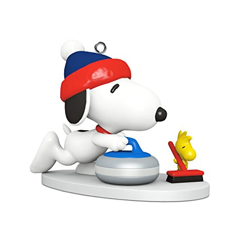Hallmark Keepsake Mini Christmas Ornament 2018 Year Dated, Peanuts Snoopy Winter Fun and Games Curling Miniature, -