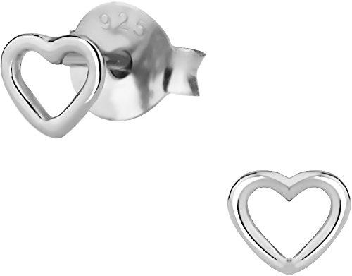 Silver Little Heart (.925 Sterling Silver Tiny Heart Children's Stud Earrings for)