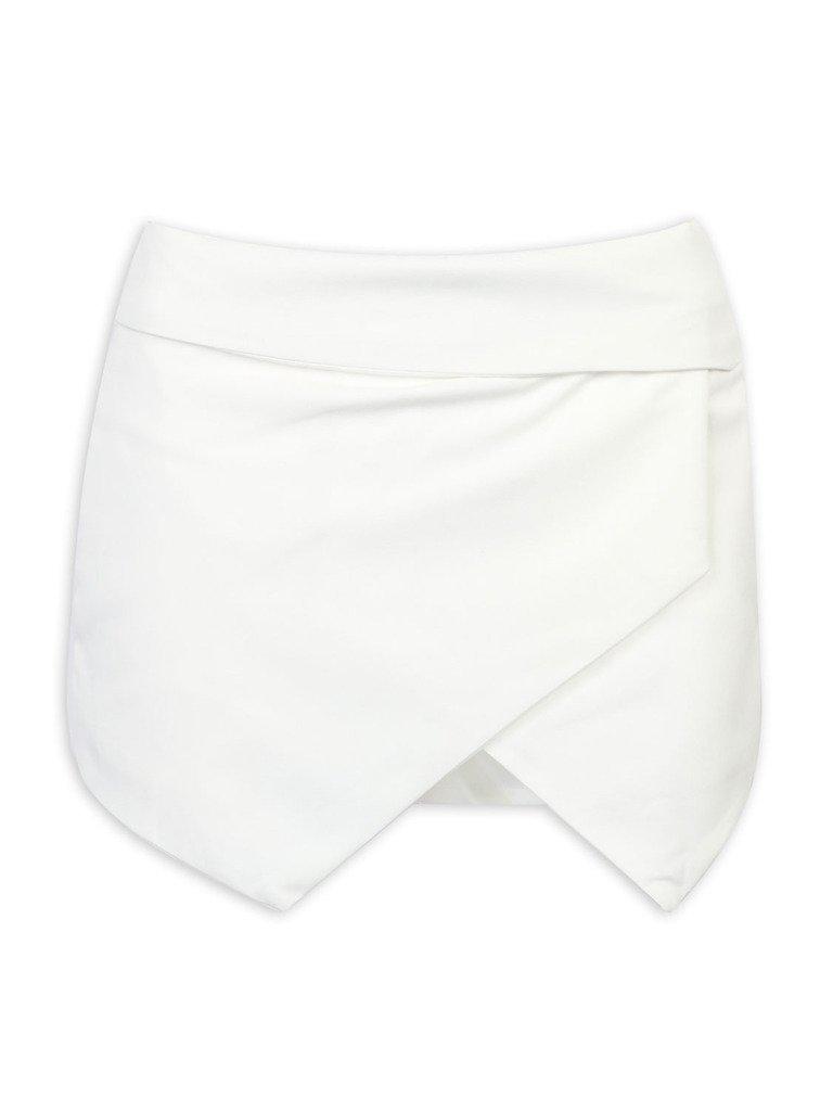 CHARLES RICHARDS CR Women's White Asymetric Hem Tulip Plain Mid Waist Skorts,Small
