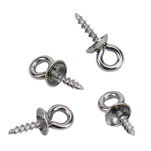 Circular Jewelry - Monrocco 100Pcs Stainless Steel Cup Pearl Screw Eye Pin Bail with 4mm Pearl Cup Pendant Connector for Jewelry Making Craft
