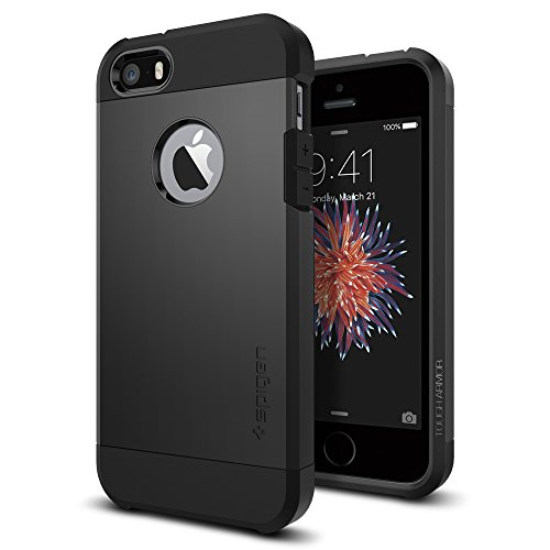 Spigen Tough Armor iPhone 5S / 5 Case with Extreme Heavy Duty Protection and Air Cushion Technology for iPhone 5S / iPhone 5 - SF Smooth Black by Spigen (Image #1)