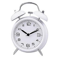 LABANCA Lovely Round Metal Alarm Clock Twin Bell Quartz Desk Table Clock Backlight Night Light Illuminant Home Decor Daily Alarms White