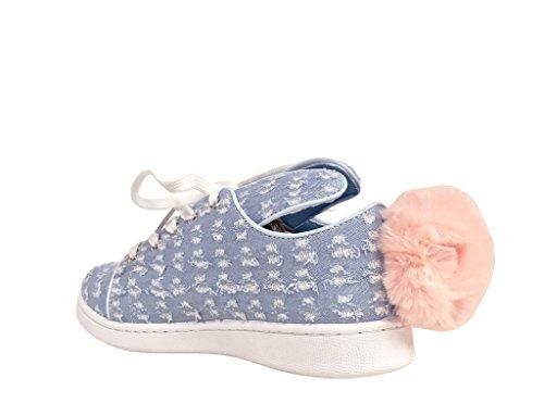 Pantera 1! Sneakers Pompon Con Plateau In Pelle Color Merino Blu Chiaro
