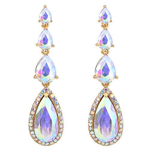 BriLove Wedding Bridal Dangle Earrings for Women Elegant Multi Teardrop Long Chandelier Earrings Iridescent AB Gold-Toned ()