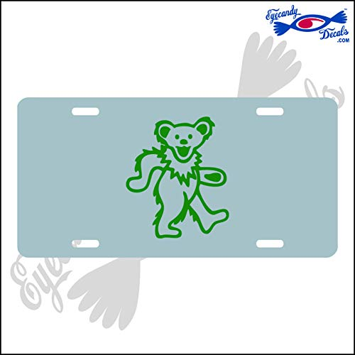Bear Green Dancing - Eyecandy Decals Dancing Bear Green on a Silver Acrylic Mirror License Plate