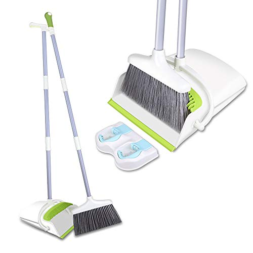 Broom and Dustpan Set with Long Extendable Handle-Wisp and Pet Hair Cleaning,Ideal Kitchen, Home Ourdoor Lobby Upright Broom and Dust pan Combo with Holder