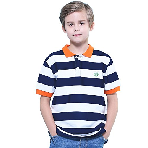 Embroidered Short Sleeve Rugby (Leo&Lily Big Boys Short Sleeves Striped Pique Rugby Polo Shirt (Navy,16))