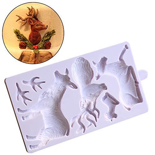 Joinor Fondant Cake Mold Christmas Santa Claus and Elk Sugarcraft Paste Fondant Mold Cake Decorating Mold