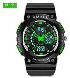 SMAEL LED Backlight Display Waterproof ,Alarm ,Calendar Sports Wrist Watch for Kids (L, Black Green)