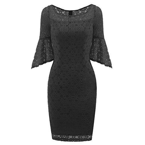 Price comparison product image Women Long Dress Daoroka Women's Sexy Spring Autumn New Vintage Lace Flare Sleeve Formal Patchwork Wedding Dress Bodycon Cocktail Retro Swing Evening Party Skirt Gift Fit Pencil Dress (L, Black)