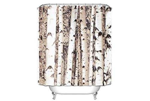 Alibuy Birch Tree Pattern Waterproof Bath Shower Curtains Fabrics Curtain with Free 12 Hooks,180x180cm