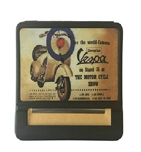 Tobacco Case Hand Roller Rolling Machine Cigarettes Metal Vespa Vintage Design