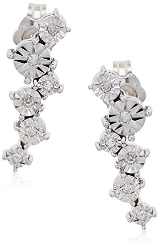 - Sterling Silver Starburst Diamond Accent Drop Earrings