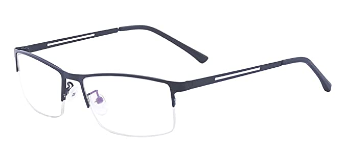 969a978e92 Image Unavailable. Image not available for. Color  ALWAYSUV Black Half  Frame Clear Lens Business Glasses Non-Prescription ...
