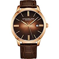 Stuhrling Original Men's  490.3345K14 Cuvette II Analog Swiss Quartz Brown Leather Watch, Rose Gold