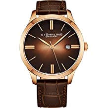 Stuhrling Original Men's  490.3345K14 Cuvette II Analog Swiss Quartz Brown Leather Watch, Rose Gold
