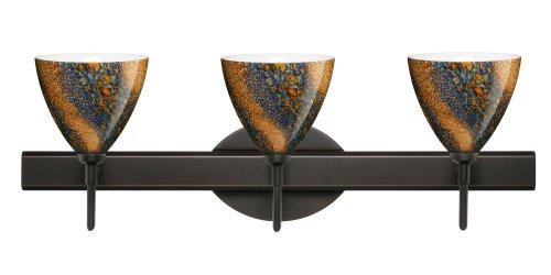 Besa Lighting 3SW-1779CE-BR Mia 3-Light Vanity Fixture, Ceylon Art Glass Shades with Bronze - Light Bath Mia 3