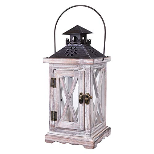 BESTONZON Vintage Decorative Lantern Candle Holder Wooden Rustic European Style for Table Top Mantle Wall Hanging Display Party Decor Indoor Outdoor Use - 28 x 12.5 x 12.5 cm