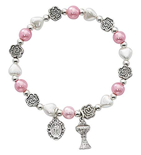 First Communion Pink and White Heart and Flower Bead Bracelet with Chalice and Miraculous Medal, 6 1/2 Inch -