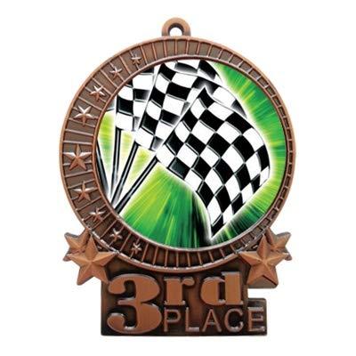Express Medals 3インチ チェッカーフラッグ レーシング 3位 メダル ブロンズ 赤 白 & 青 ネックリボン 賞 トロフィー XMD B07G6W89X7 50