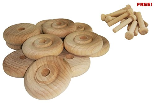 Wood Wheels - 24 Pack with Free Axle Pegs - Made in USA (1.25