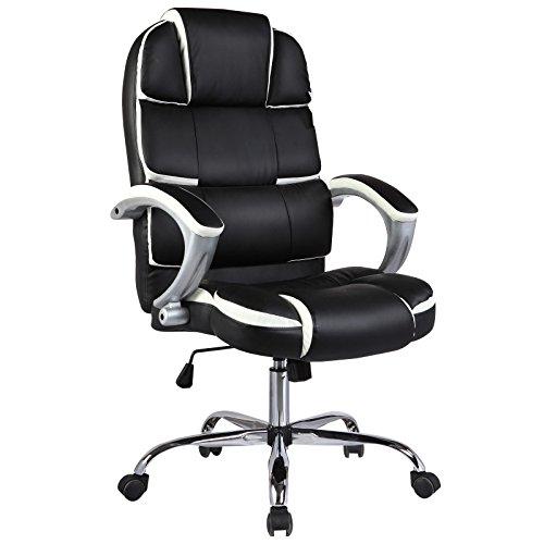 (Leather High Back Executive Office Chair Swivel Desk Task Computer Ergonomic (Black))