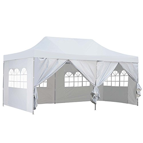 Outdoor Basic 10x20 Ft Pop up Canopy Party Wedding Gazebo Tent Shelter with Removable Side Walls -