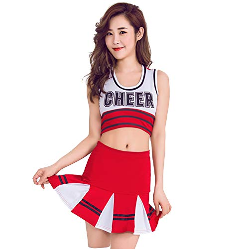 Women's School Girls Musical Party Halloween Cheerleader Costume Fancy Dress Uniform Outfit Football Baby Perform Outfit (M, Red) -