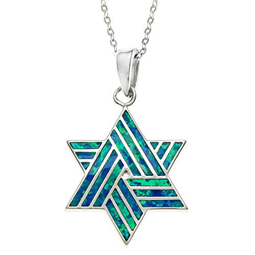 Beaux Bijoux Sterling Silver Created Blue Opal Star of David Pendant with 18 Chain