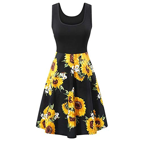 (Women Vintage Scoop Neck Midi Dress Sleeveless A-line Cocktail Party Tank Dress Beach Casual Flared Floral Tank Dress Black)