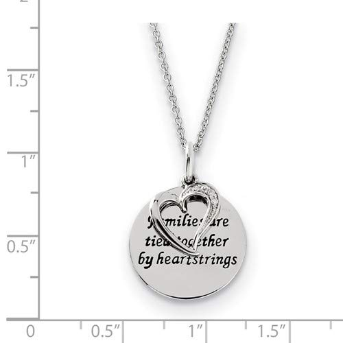CZ Families Are Tied Together Heart Pendant Necklace Antiqued Rhodium-Plated Sterling Silver 18 19x19MM