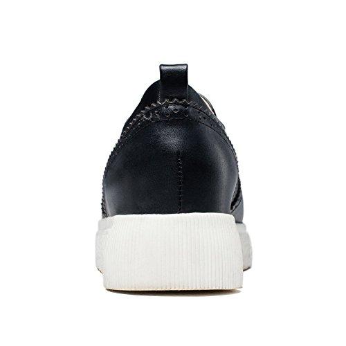 VogueZone009 Damen Rund Zehe Ziehen auf PU Leder Rein Niedriger Absatz Pumps Schuhe Schwarz