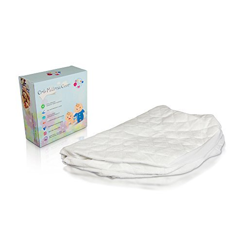 Waterproof Fitted Crib Mattress Protector - Washable Organic Bamboo Terry Crib Mattress Pad - Noiseless, Breathable & Hypoallergenic Crib Mattress Cover for Potty Training Toddlers & Infant Cribs