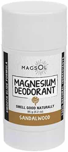 Sandalwood Magnesium Deodorant - Aluminum Free, Baking Soda Free, Alcohol Free, Cruelty Free, Sensitive Skin, All Natural, For Women Men Boys Girls Kids - 3.2 oz (Lasts over 4 months)