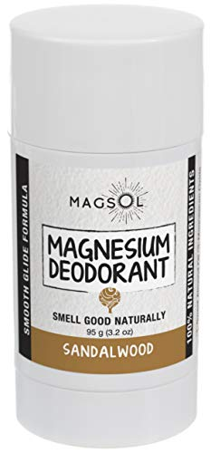 (Sandalwood Magnesium Deodorant - Aluminum Free, Baking Soda Free, Alcohol Free, Cruelty Free, Sensitive Skin, All Natural, For Women Men Boys Girls Kids - 3.2 oz (Lasts over 4 months) )