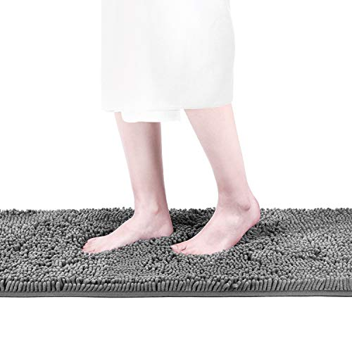 (Colorxy Luxury Chenille Bath Mat - Washable Bath Rugs Runner Non Slip, Soft, Plush for Bathroom Shower with Water Absorbent Microfibers (Grey, 16'' X 47''))