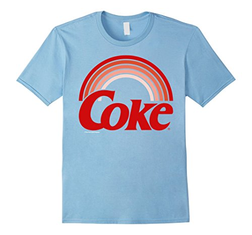Mens Coca Cola Retro Sunset Rainbow Coke Graphic T Shirt Medium Baby Blue