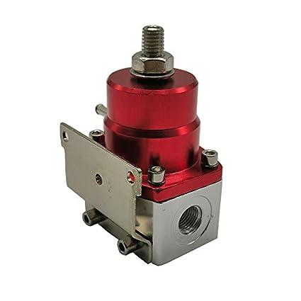 Metermall Universal Adjustable Fuel Pressure Regulator Oil Gauge PSI Adjustment Black red Auto Accessories