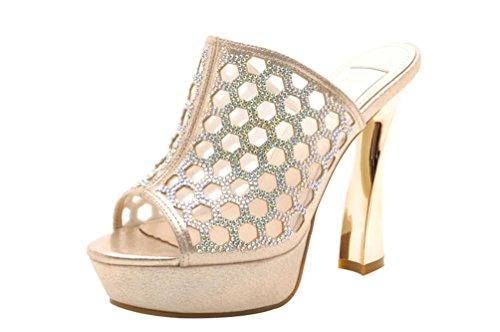 Passionow Women's Stylish Rhinestone Peep-Toe Chunky Heel Sandal Shoes