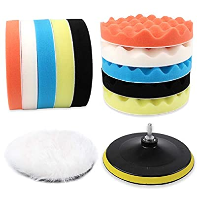 Coceca 12pcs 7 Inches Buffing and Polishing Pad, Drill Polishing Pads kit Car Including 10 Sponge Pads and 1 Woolen Buffer with 1 Drill Adapter: Automotive