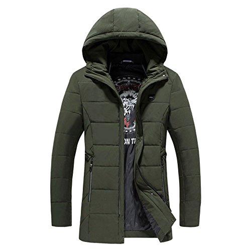 Los hombres de algodón de invierno abrigo largo, incluso la ropa de algodón tapa de tendencias de moda y versátil chaqueta caliente hombres, el ejército verde ,XXXL