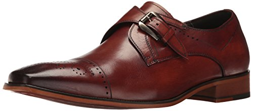 STACY ADAMS Men's Kimball - Cap Toe Monk Strap Slip-On Loafer, Chestnut, 9 M US