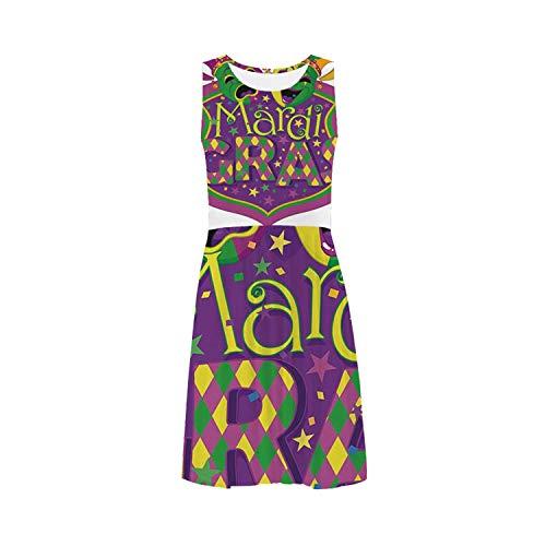 Mardi Gras Simple Sleeveless Ice Skater Dress,for Women,XS-3XL (Mardi Gras Line Melamine Dinnerware)