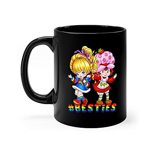 Besties - 80s Mug 11oz Black Ceramic Unique Coffee Tea Mug Anniversary Gift For Men Women - Shortcake Vintage Strawberry