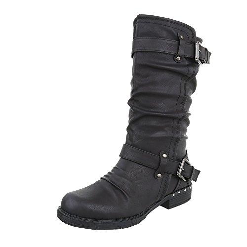 Heel Block Black Women's Biker Ital Design Boots Boots at Cowboy amp; 64x5Cwx