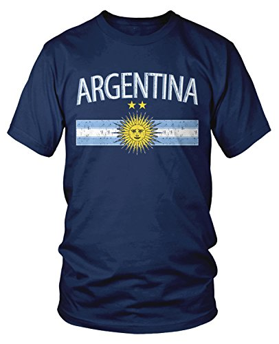 Amdesco Men's Argentina Flag and Sun Emblem, Sun of May T-shirt, Navy Blue Large